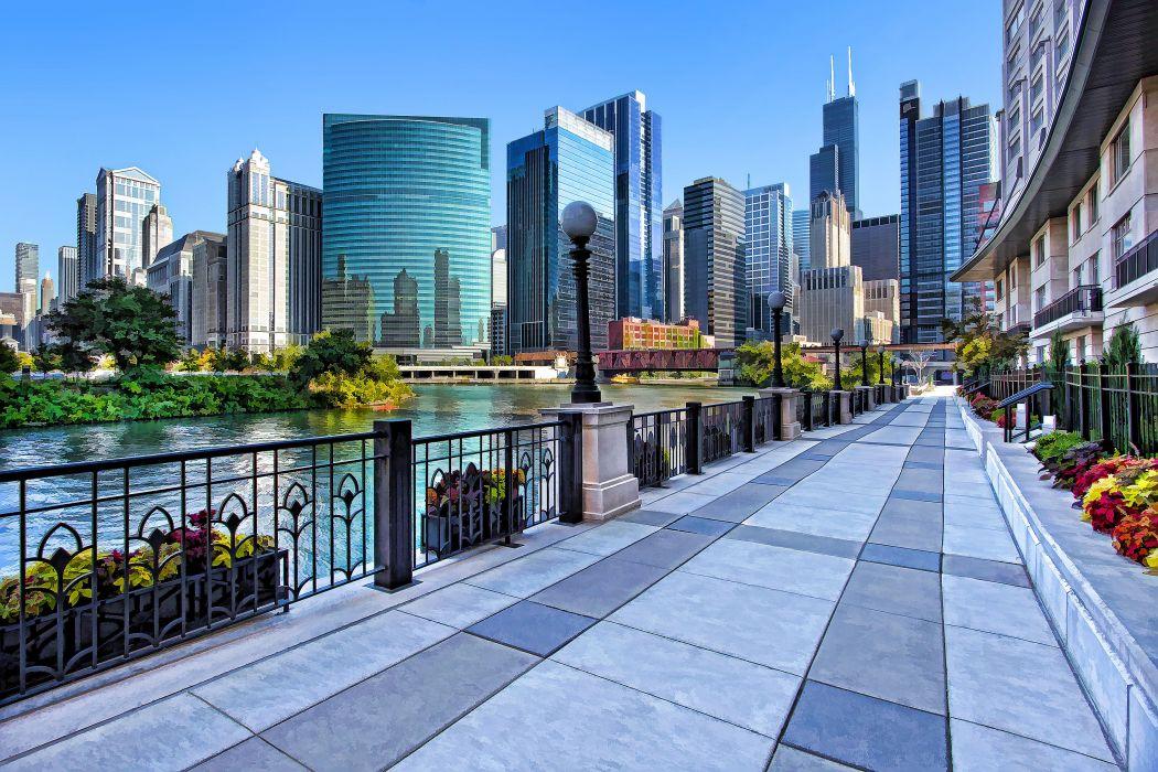 sidewalk along the River Chicago USA wallpaper