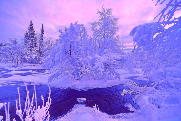 snow landscape river winter wallpaper