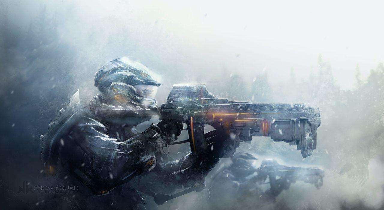 soldiers war blizzard snow art warrior armor weapon gun wallpaper