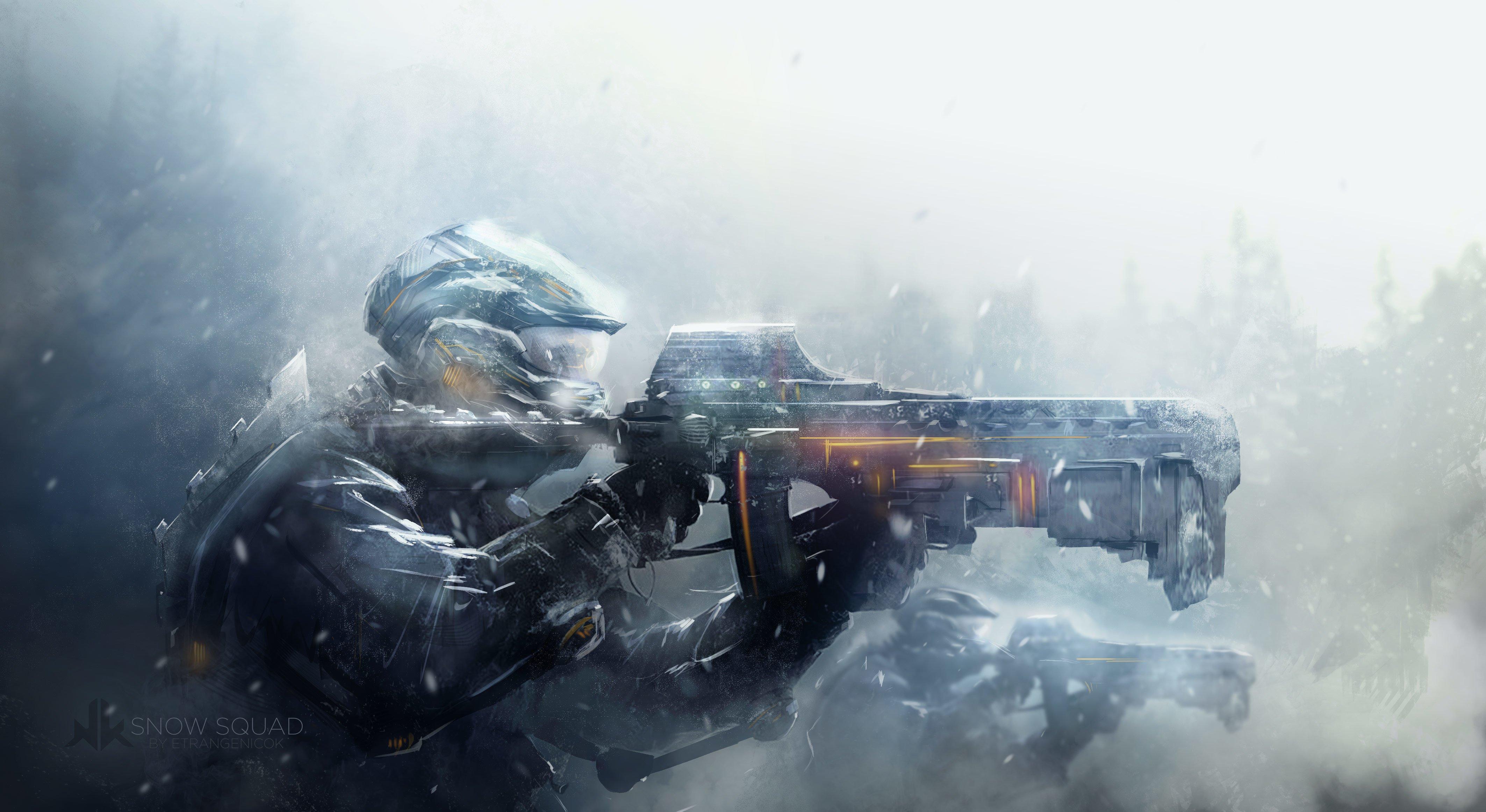 soldiers war blizzard snow art warrior armor weapon gun