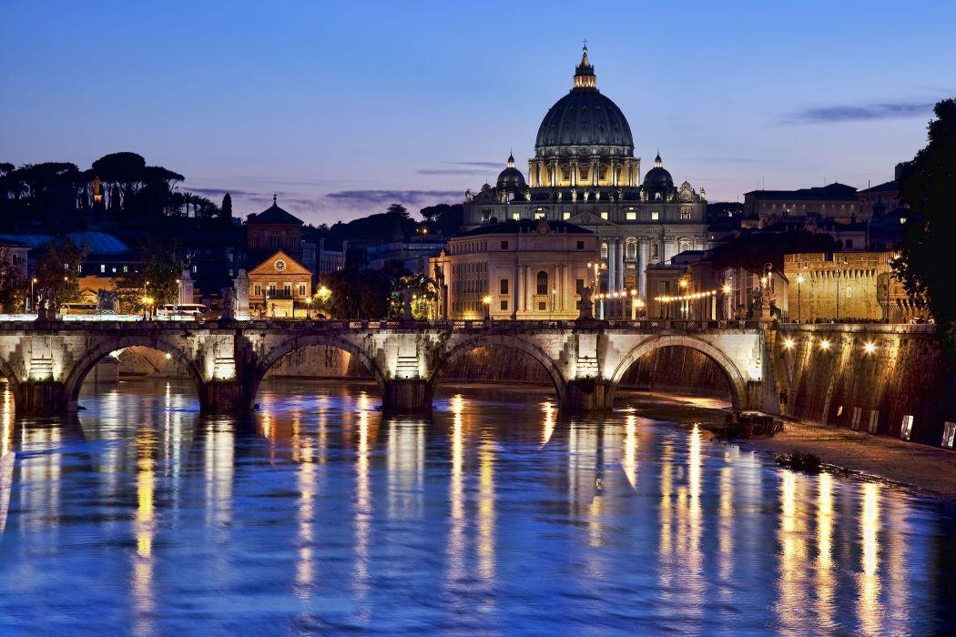 St_ Peter's Basilica at dusk London Canada reflection wallpaper