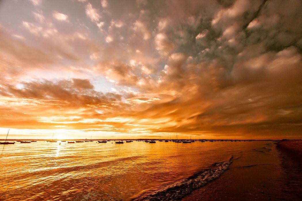 sunset lake beach glow boats reflection wallpaper