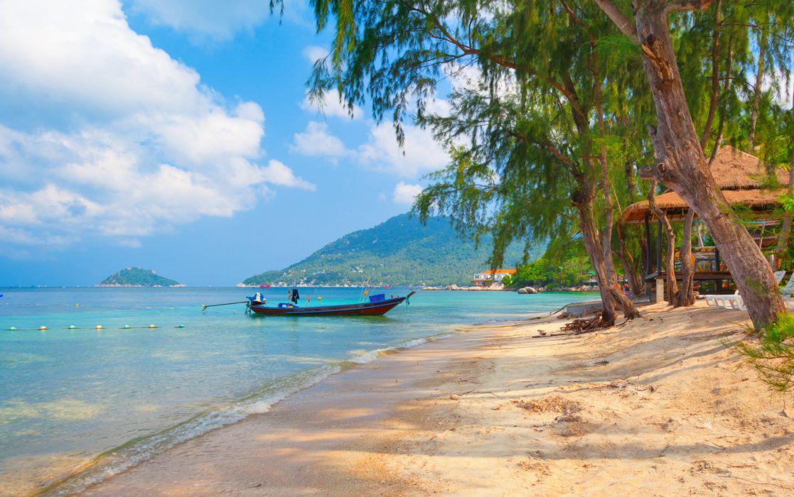 thailand nature boat beach koh tao beautiful landscape trees wallpaper