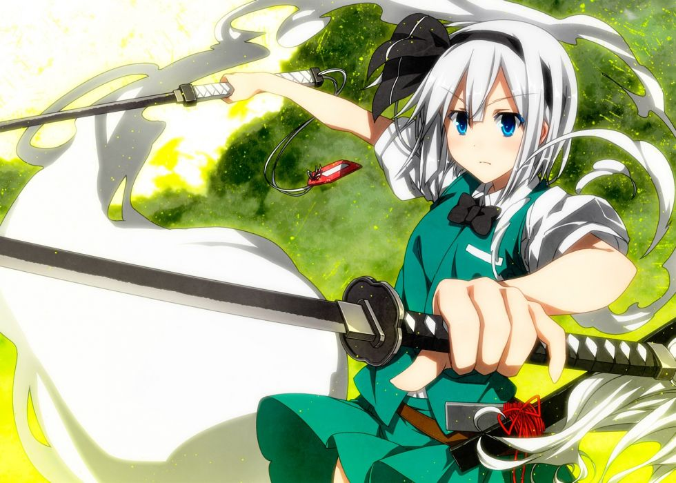 touhou blue eyes bow katana konpaku youmu sazanami mio sword touhou weapon white hair wallpaper
