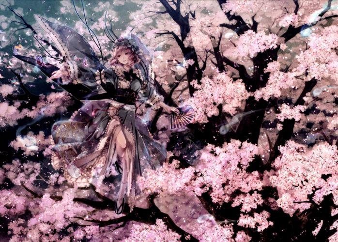 Touhou Collection Sakura Kimono Fantasy Anime Girls wallpaper