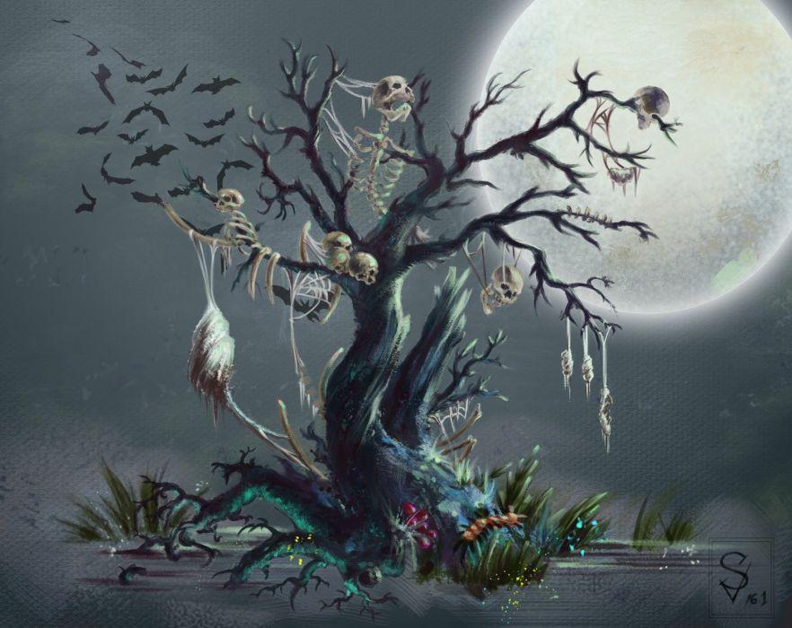 tree skeleton dark horror halloween wallpaper
