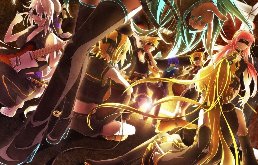 Vocaloid Guitar Hair Legs Anime Girls wallpaper