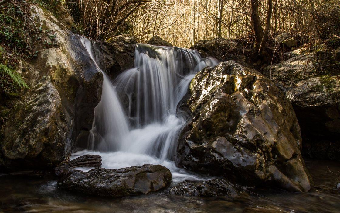 Waterfall Rocks Stones Forest wallpaper