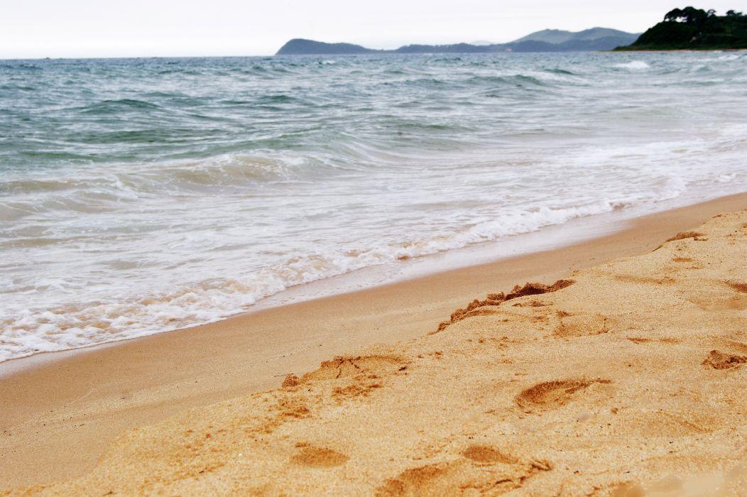 waves sea blue sand wallpaper