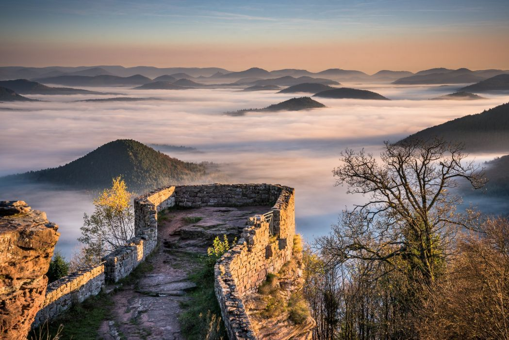 Wegelnburg Pfalz Germany mountains hills fog view of the old fortress castle wallpaper