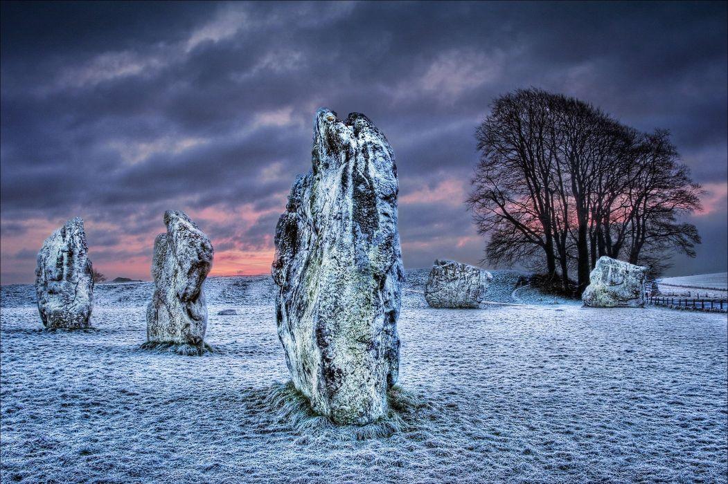 Wiltshire United Kingdom field rocks landscape frost winter wallpaper