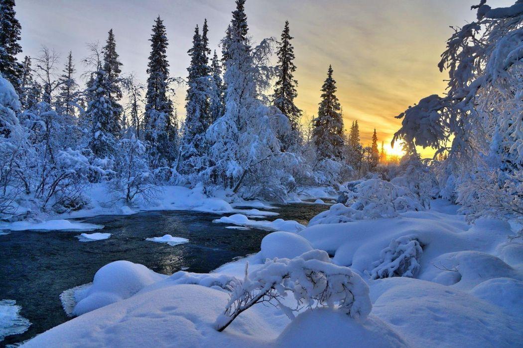 winter river nature trees landscape   g wallpaper