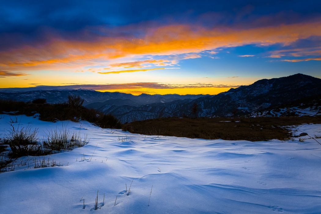 winter evening sunset snow mountains wallpaper