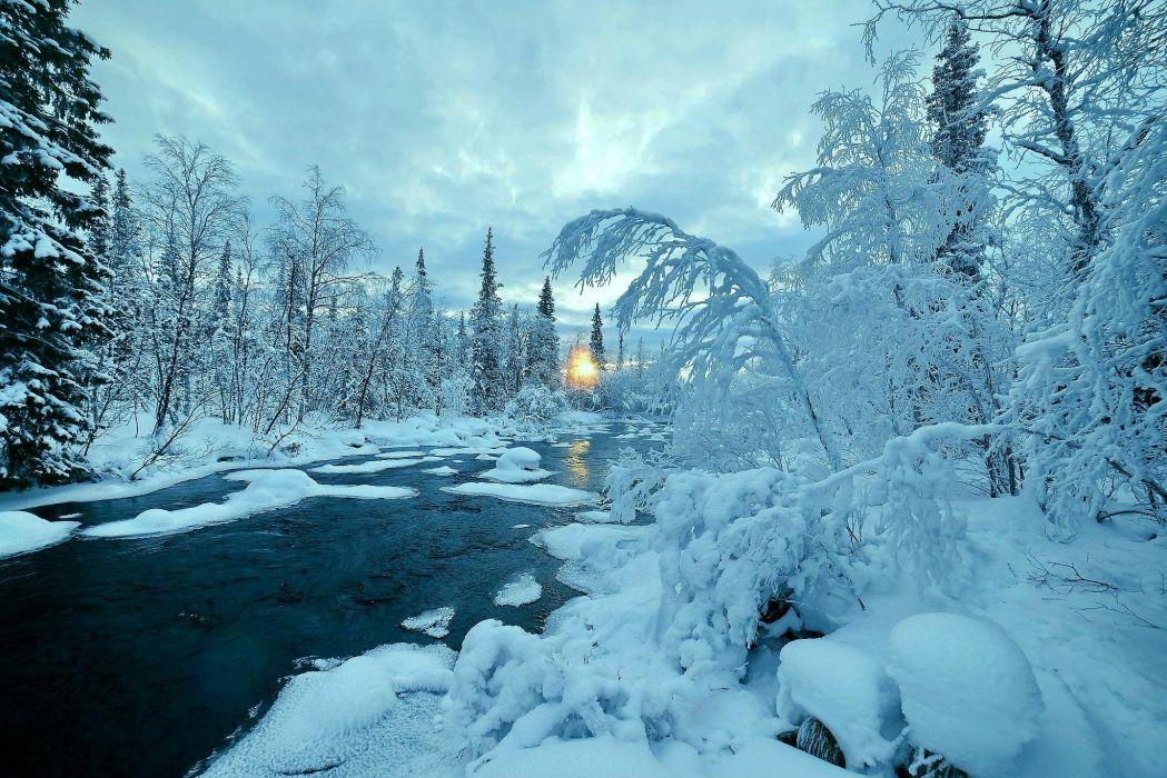 winter river nature trees landscape wallpaper