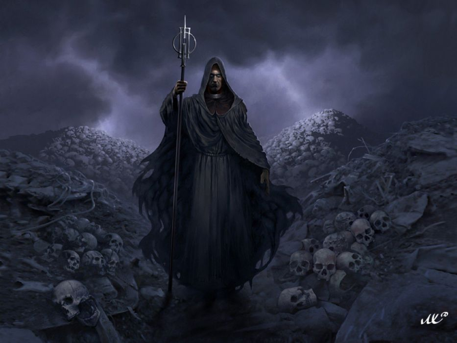 wizard dark skull reaper wallpaper