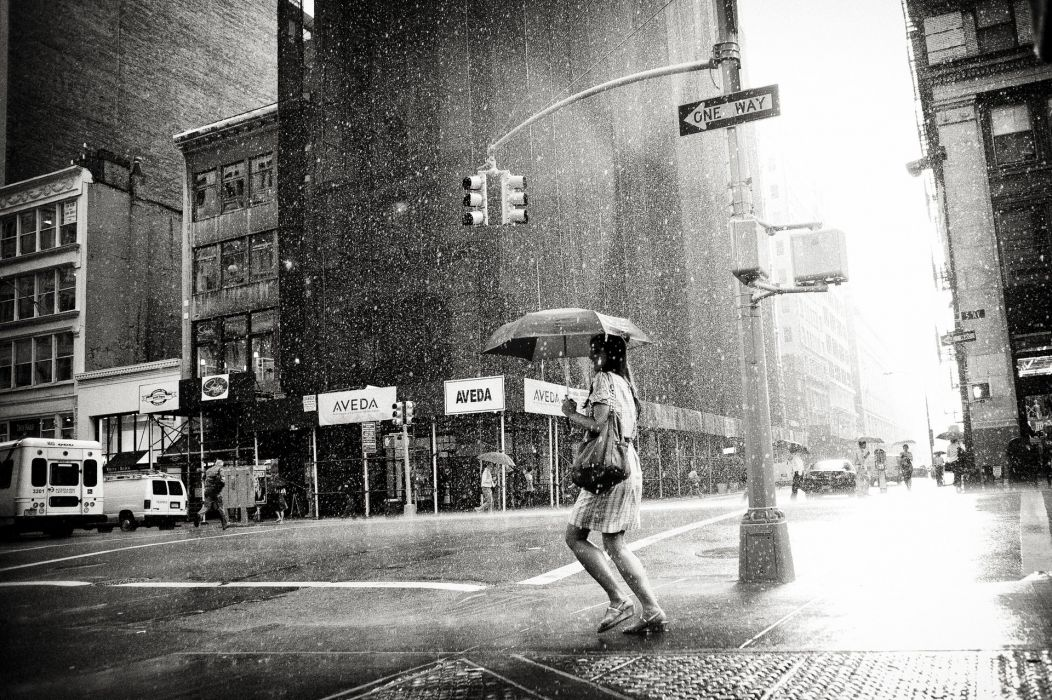 woman rain cloudy girl city Honcho black-and-white weather h wallpaper