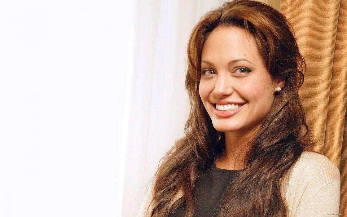women Angelina Jolie celebrity smiling wallpaper