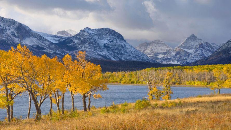 mountains autumn glacier National Park foliage wallpaper