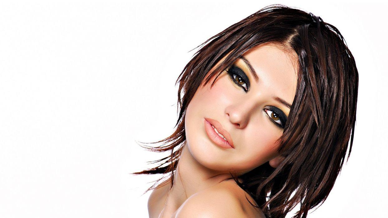 brunettes women faces photo manipulation wallpaper