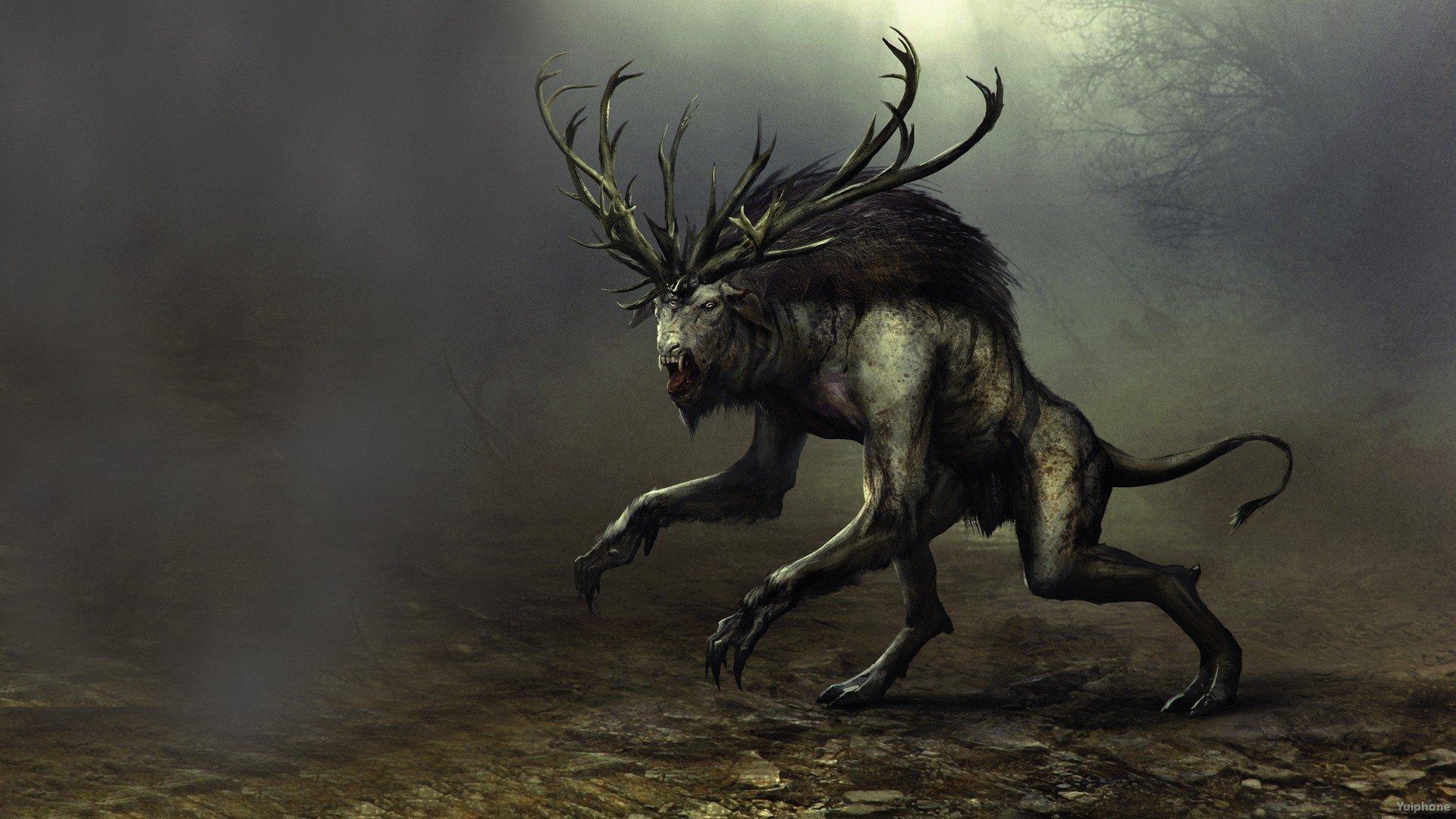 Witcher 3 Fantasy Warrior Monster Dark Creature D
