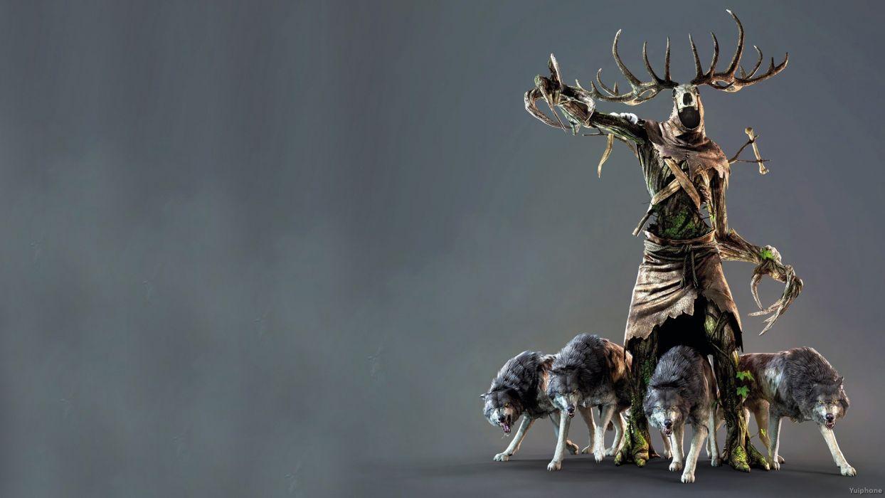 WITCHER 3 fantasy warrior monster dark creature wolf wolves wallpaper