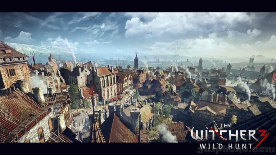 WITCHER 3 fantasy warrior poster city d wallpaper