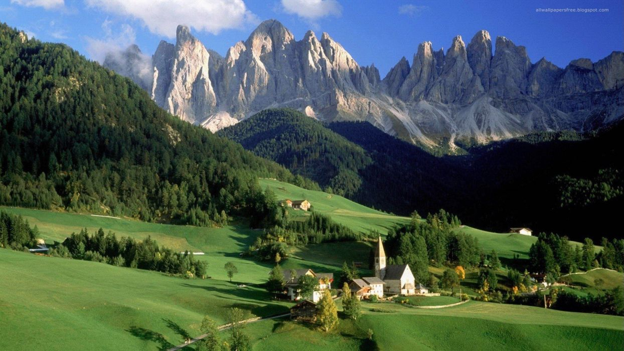 mountains landscapes Austria Alps clocktowers wallpaper