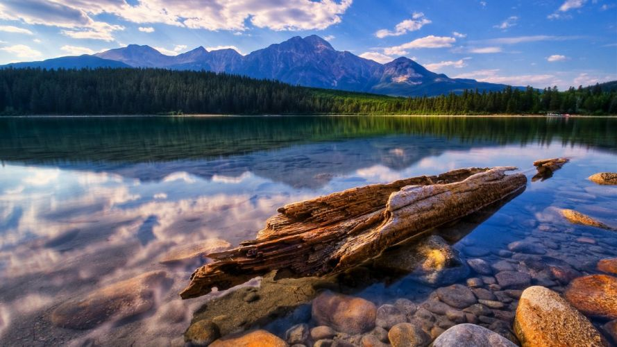 water landscapes trees lakes rivers reflections wallpaper