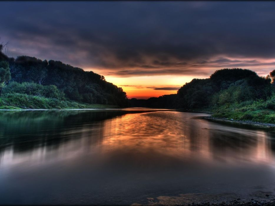 water sunset clouds landscapes nature forests rivers reflections wallpaper