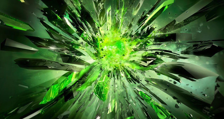 crystals-broken-power-green-nvidia wallpaper
