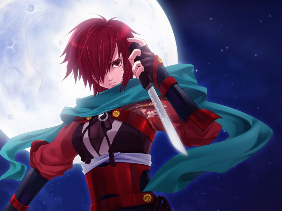 brunettes Vocaloid night Moon bang weapons Japanese clothes Meiko anime girls wallpaper