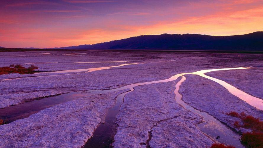 sunset mountains California Death Valley salt flats wallpaper