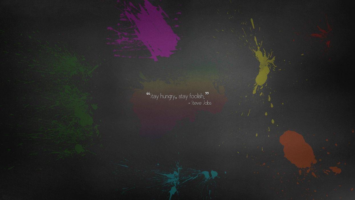 abstract minimalistic Apple Inc_ quotes paint rainbows Steve Jobs simplistic simple background splatters wallpaper