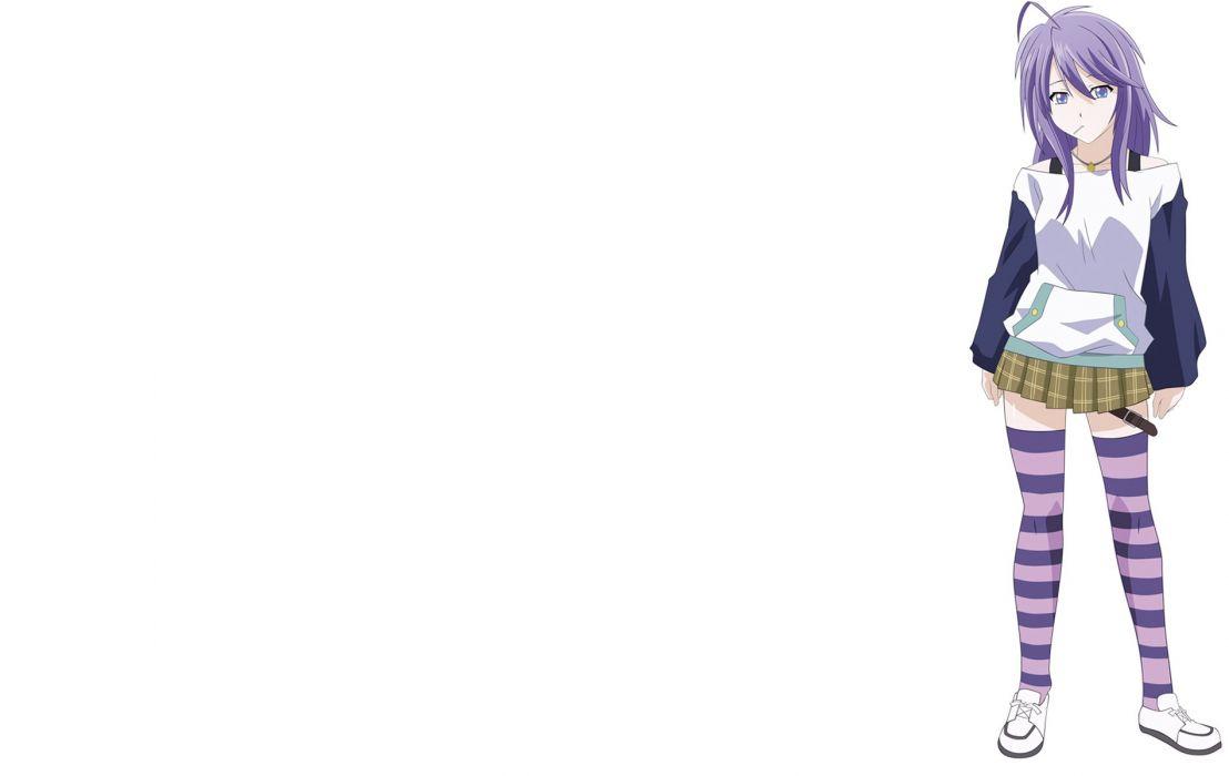 Shirayuki Mizore simple background Rosario to Vampire striped legwear wallpaper