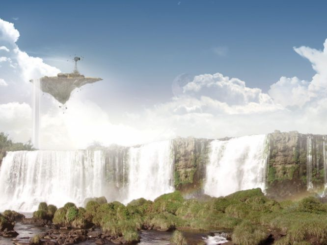fantasy art waterfalls wallpaper