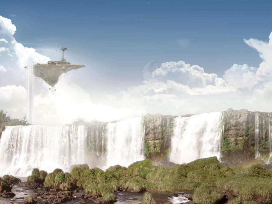 fantasy art waterfalls wallpaper