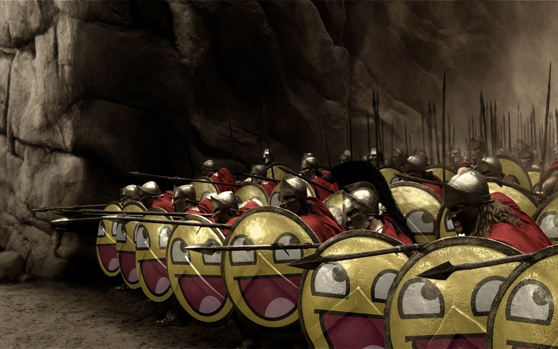 300 (movie) spartan Sparta shield smiley face spears Awesome Face wallpaper