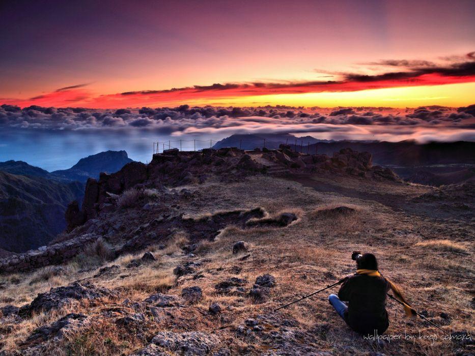sunset mountains landscapes wallpaper