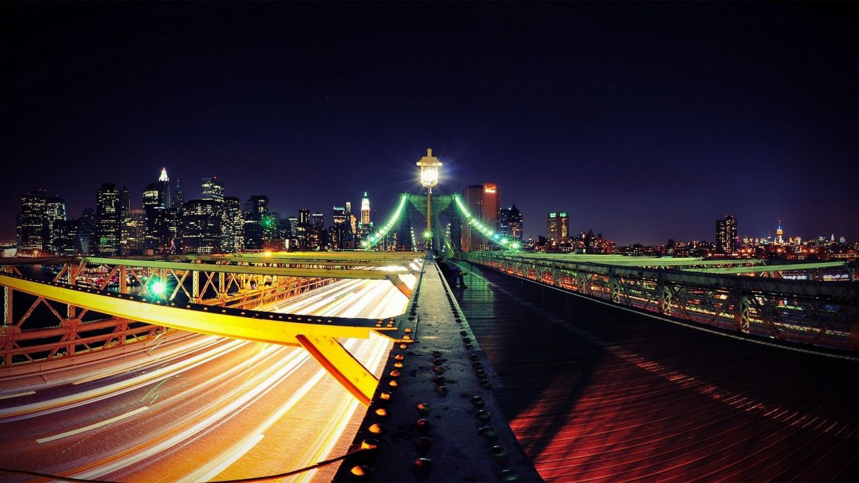 New York City roads city lights wallpaper