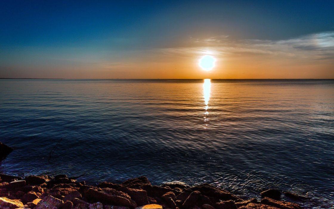 water sunrise ocean nature rocks HDR photography sea clear sky wallpaper