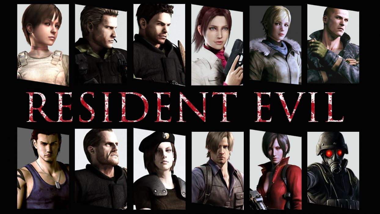 video games Resident Evil Claire Redfield Jill Valentine characters Chris Redfield Ada Wong Rebecca Chambers Albert Wesker panels Barry Burton Leon S_ Kennedy hunk game wallpaper