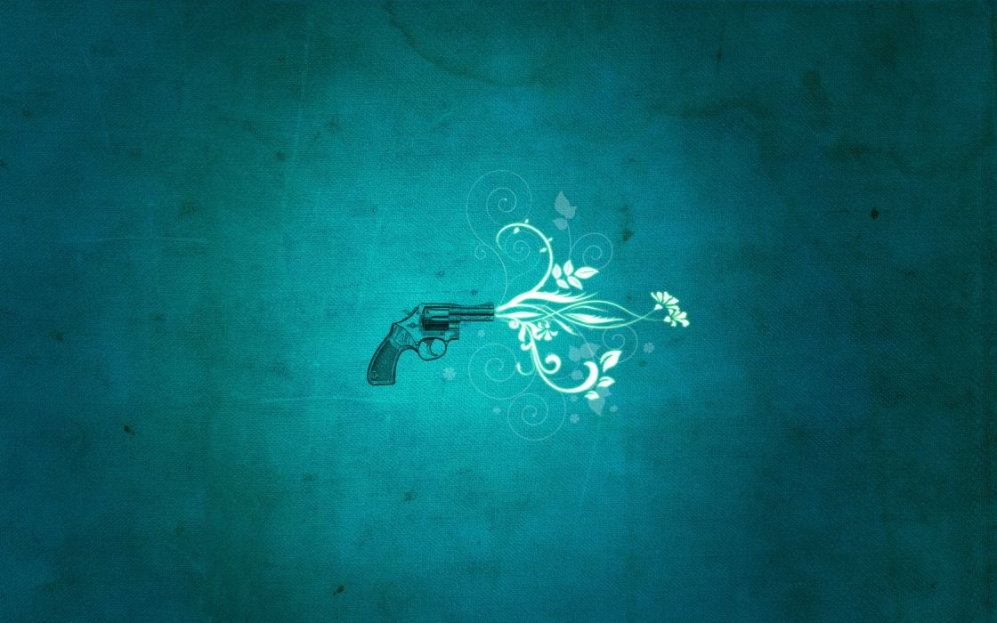 minimalistic guns flowers artwork wallpaper