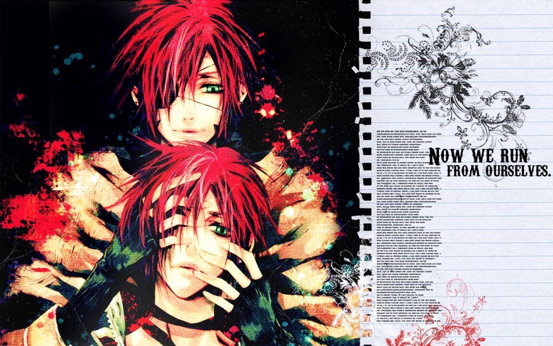 paper text redheads green eyes yaoi anime boys D_Gray-man shounen-ai wallpaper
