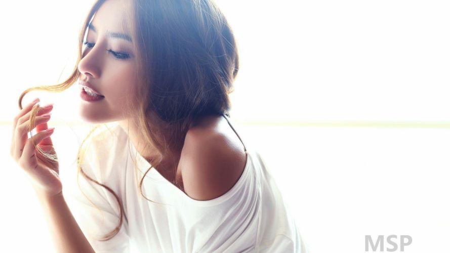 women Asians white background models wallpaper