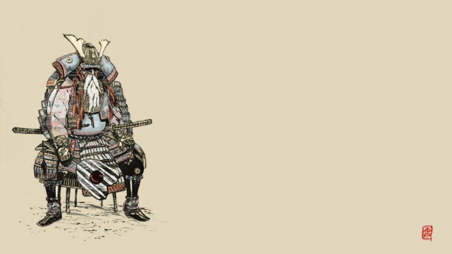 samurai armor artwork simple background wallpaper