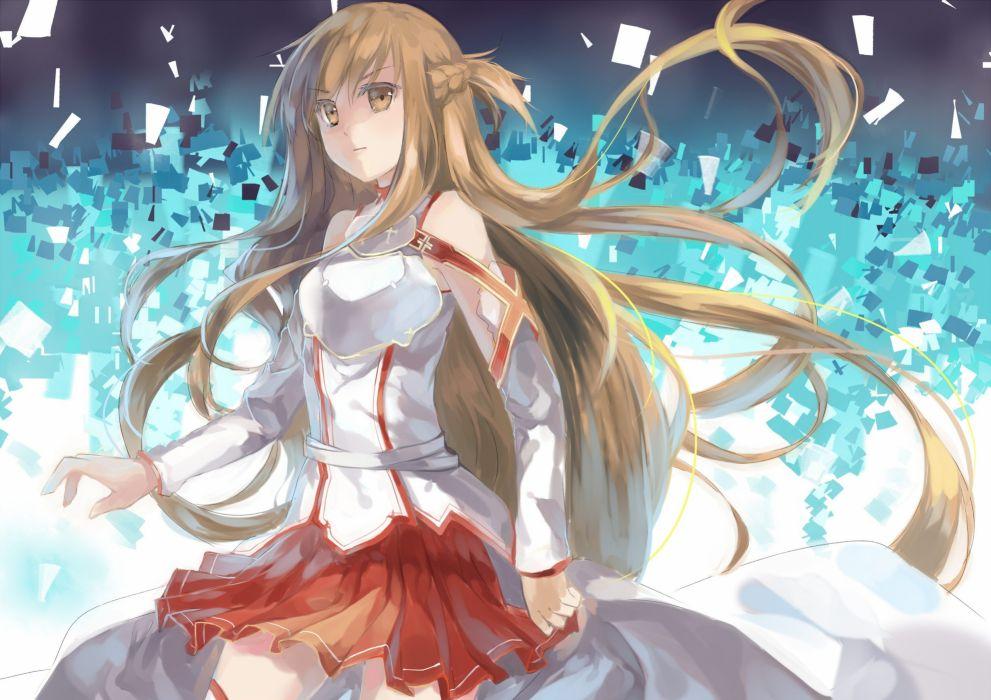brunettes long hair anime girls Sword Art Online Yuuki Asuna wallpaper