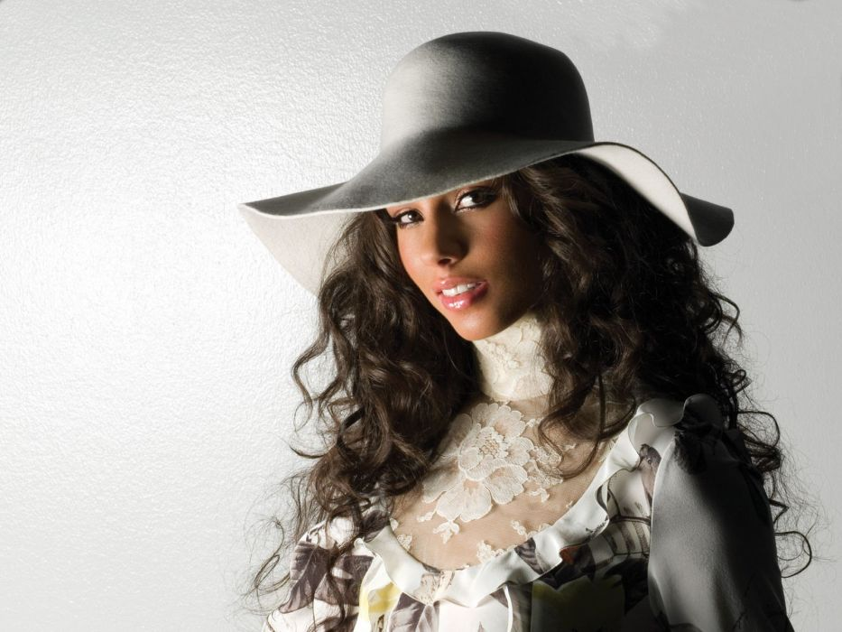 brunettes women black people celebrity Alicia Keys singers hats fedoras wallpaper