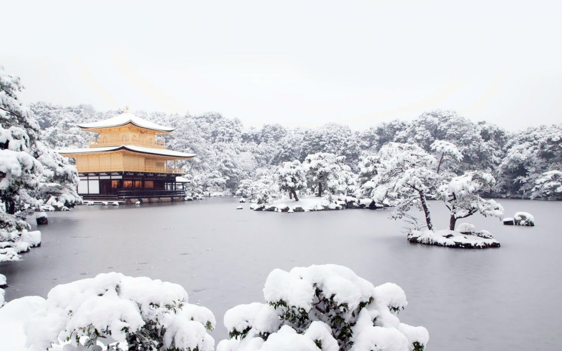 landscapes nature snow Japanese house frozen lake wallpaper