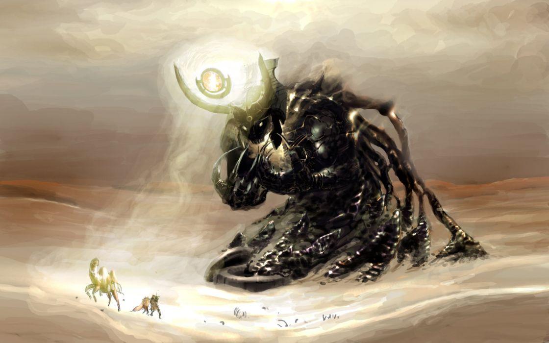 deserts demons God fantasy art Wasteland wallpaper