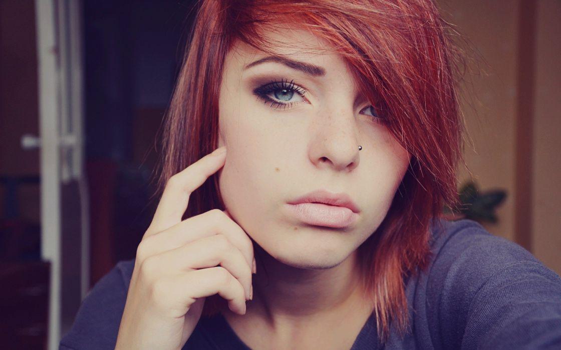 women redhead Lana Branishti wallpaper